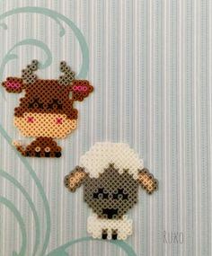 Perler Bead version of Farm Animals  from a Cross Stitch Pattern