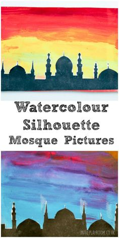 Water colour mosque pictures. Good for Ramadan or Eid cards, printable template linked from the site.