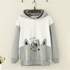 Japanese Cosplay - Product ID: Material: Cotton Color: Grey, Black Size Info: M:Bust 102 cm,Sleeve 46 cm,Length 62 cmL:Bust cm,Sleeve 47 cm,Length 63 cm Cute Hoodie, Grey Hoodie, Sweater Hoodie, Pullover, Kawaii Fashion, Cute Fashion, Fashion Black, Fashion Styles, Fashion Fashion