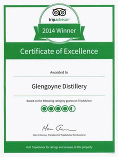 Glengoyne are delighted to have received our TripAdvisor Certificate of Excellence 2014. Thanks to all who shared their feedback, it's greatly appreciated. Slainte! #TripAdvisor #Glengoyne #CertificateofExcellence