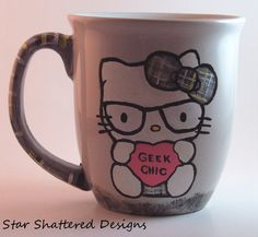 "Hello Kitty ""Geek"" coffee mug on Etsy, $12.25"