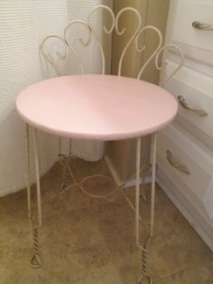 Superb Twisted Wrought Iron Vanity Stool Seat Chair By AntiquesPlus, $40.00
