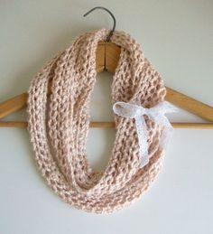 Easy Knitting Pattern PDF Digital Download Vegan Knitted Mobious Infinity Looped Scarf Boho Girlie by:-Bluestockinette