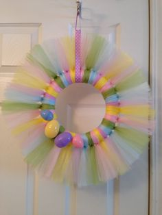 Easter egg tulle wreath