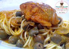 Spaghetti con Baccalà a Ghiotta alla Siciliana,concentrato di pomodoro,capperi di pantelleria,uvetta,cipolla,pinoli,olive verdi,piatto unico,buono economico