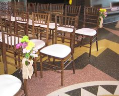 The burlap pew bows and the assortment of fresh flowers added a colorful touch to the aisle. Burlap Pew Bows, Outdoor Furniture Sets, Outdoor Decor, Town And Country, Fresh Flowers, Touch, Colorful, Floral, Home Decor