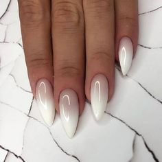 nude and white ombre nail polish, cute easy nail designs, long stiletto nails Do you get overwhelmed when choosing you manicure? We have gathered 100 best nail designs suitable for every nail shape to help you choose your favourite. Long White Nails, White Nail Art, Long Nails, White Summer Nails, Summer Toenails, Cute Simple Nails, Cute Nails, Simple Stiletto Nails, Stylish Nails