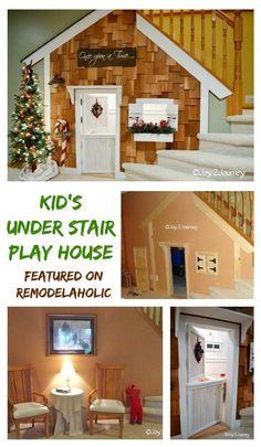 Understair kids playhouse tutoral featured on Remodelaholic Under Stairs Playhouse, Indoor Playhouse, Build A Playhouse, Playhouse Ideas, Cedar Shake Shingles, Dog Rooms, Indoor Playground, Interior Exterior, Interior Shop