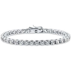 BERRICLE Sterling Silver with Round Swarovski Zirconia Wedding Tennis... ($93) ❤ liked on Polyvore featuring jewelry, bracelets, clear, tennis bracelet, women's accessories, sterling silver jewelry, clear jewelry, sterling silver jewellery and sterling silver bangles