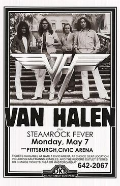 Innerwallz FRAMED Poster Print Van Halen Live with Steamrock Fever at Civic Arena Concert Tour Posters, Band Posters, Event Posters, Rock Roll, Hard Rock, Vintage Concert Posters, Concert Flyer, Pochette Album, Eddie Van Halen