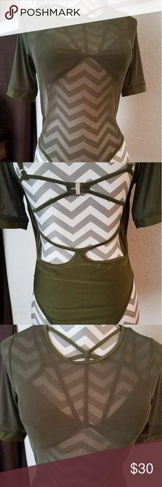 Sexy sheer swim!! Unique Olive green criss cross front and back with sheer overlay swimsuit!! Swim Bikinis