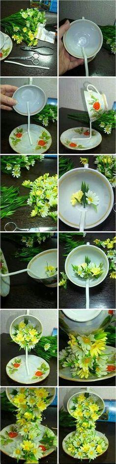 Usar alambre galvanizado y pegar primero a la taza, luego al plato con pegamento de dos componentes de secado rapido, (poxipol), pero podrias usar masilla epoxi