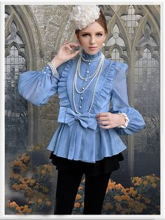 Morpheus Boutique  - Blue High Collar Shoulder Princess Long Sleeve Bow Ruffle Shirt , $55.99 (http://www.morpheusboutique.com/blue-high-collar-shoulder-princess-long-sleeve-bow-ruffle-shirt/)