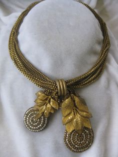 Early MIRIAM HASKELL Brass & Pearls Necklace Signed