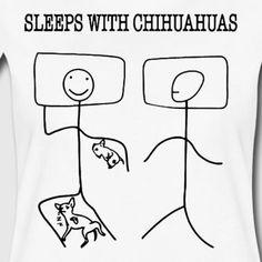 SLEEPS WITH CHIHUAHUAS - Women's Premium T-Shirt