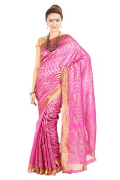 Baby Pink & Golden Pure Silk Elegant Shari Carved with Wavy Flowery Motives