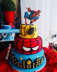 Spiderman Cake Ideas for Little Super Heroes - Novelty Birthday Cakes Spiderman Theme Party, Spiderman Birthday Cake, Superhero Cake, Boys Bday Cakes, Novelty Birthday Cakes, 3rd Birthday Cakes, Spiderman Cake Topper, Batman Cakes, Bolo Minion