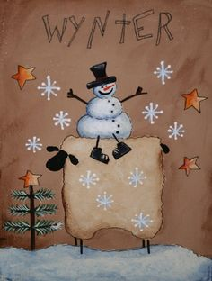 free primitive images to paint on wood | ... Primitive Snowman and Sheep painting - Hand Painted on canvas panel