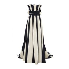 Carolina Herrera     Strapless Striped Gown featuring polyvore, women's fashion, clothing, dresses, gowns, stripe, white striped dress, white gown, strapless dresses, white evening gowns and strapless evening dresses