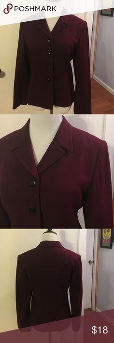 Jasper & company 100% wool deep plum blazer Fully lined. Beautifully tailored Kasper Jackets & Coats Blazers
