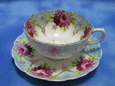 Gorgeous Vintage Porcelain China Teacup Saucer