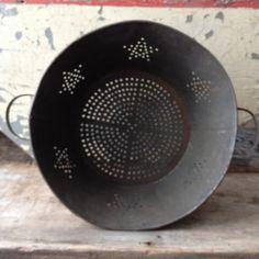 Vintage metal colander with pierced stars design by BlueWillowAtelier