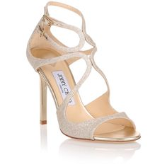 Jimmy Choo Lang 100 Dusty Glitter Sandal (€510) ❤ liked on Polyvore featuring shoes, sandals, white, elastic sandals, white shoes, white leather sandals, white high heel sandals and leather strap sandals