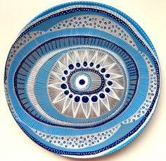 Decorative Plate - Evil Eye Light Blue Decor - Original hand-painted Artwork - Wall Hanging - Vintage Plate - Blue Wall Art - Wall Decor by biancafreitas on Etsy