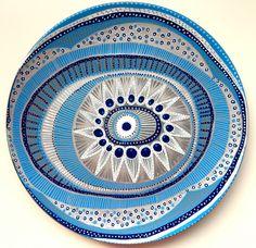 Decorative Plate - Evil Eye Light Blue Decor - Original hand-painted Artwork - Wall Hanging - Vintage Plate - Blue Wall Art - Wall Decor by biancafreitas on Etsy