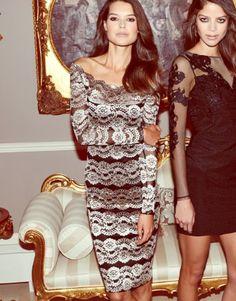 Lipsy Bardot Lace Midi Dress