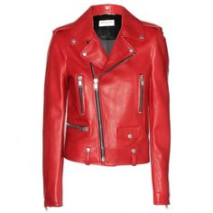 Saint Laurent Leather Biker Jacket found on Polyvore
