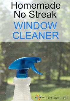 "This DIY Window Cleaner works great and really leaves no streaks! And none of the toxins of the ""blue stuff"" from the store!"