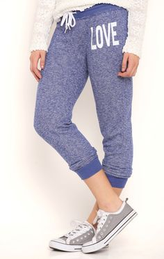 Deb Shops French Terry Jogger Pants with Love Screen at Hip $12.99