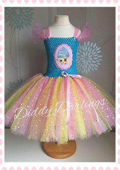 Sparkly Shopkins Cupcake Queen Tutu Dress Costume Party Sparkle Glitter Dress Up #DiddyDarlings #CasualFormalParty