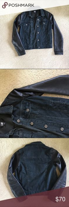 "Denim &a Leather Jacket Black denim jacket with leather sleeves. NWOT. 13"" shoulders and 18"" length. Lue Jackets & Coats"