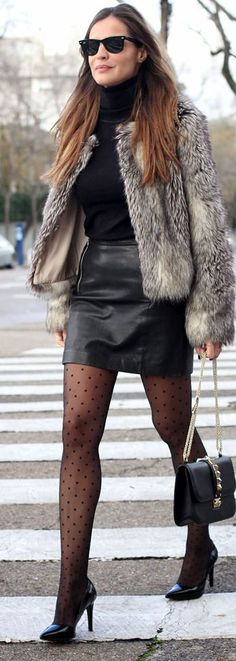 Leather Mini Skirt by LadyAddict with Polka Dot tights........nice