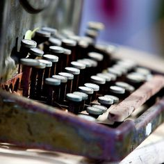 Vintage typewriter with beautiful oil spill like discolouration