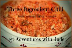 Adventures with Jude: Three Ingredient Chili Great Recipes, Easy Recipes, Easy Meals, Crockpot Recipes, Soup Recipes, Three Ingredient Recipes, Grilled Chicken Sandwiches, Recipe Girl, Dessert Bread