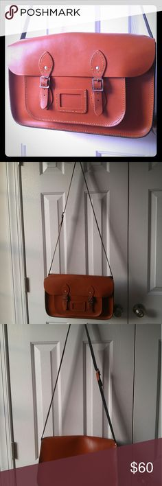 A beautiful, brown vintage-style satchel. This 15-inch beauty will add a vintage touch to every outfit. In great structural shape with slight wear on the top and straps (seen pictured). The Leather Satchel Co. Bags Satchels