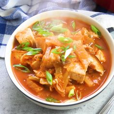 Warm up, with this spicy kimchi stew that's made with with tender shiitake mushrooms and crispy pan-fried tofu! Easy, vegan, and packed with spicy flavor, this cozy meatless stew is hearty enough to make a meal of and perfect on cold winter days. Korean Side Dishes, Vegetarian Recipes, Cooking Recipes, Healthy Recipes, Vegan Recipes Korean, Vegan Korean Food, Korean Food Kimchi, South Korean Food, Healthy Food