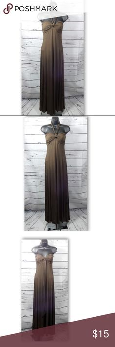 """American Rag Women's Brown Halter Maxi Dress American Rag Women's Brown Halter Maxi Dress  Size: XS   Features a halter neck line Perfect to wear during the summer as a swimsuit cover-up   Made of a Rayon blend making it light weight and stretchy Color: Brown Material: 95% Rayon, 5% Spandex; Machine wash All measurements are appox. and taken laying flat:   14"""" Bust (armpit to armpit) - Relaxed  50"""" Length from armpit to bottom hem  N/A - Sleeveless   In very good pre-owned condition American…"""