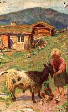 """Kunstnerkort Marie Hauge """"Gode venner"""". Utg Mittet 1948"""