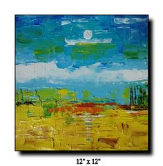 Acrylic on canvas Abstract landscape Pallet knief work..