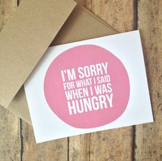 I'm sorry card - humorous card - funny Im sorry card blank card - with kraft brown envelope.