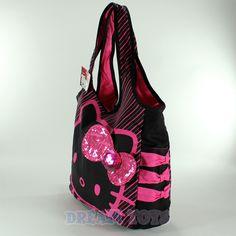 cd1cf1b17d2c Sanrio Hello Kitty Black and Pink Stripe Tote Bag - Side Bag