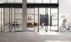Nibo Stone geeft suggesties voor natuursteen en keramische vloertegels die passen in een industrieel interieur.