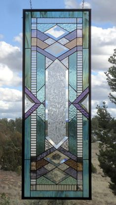 reserved for Timothy ARTS & CRAFTS FLW style stained glass transom beveled glass prairie style stained glass suncatcher Stained Glass Lamps, Stained Glass Designs, Stained Glass Panels, Stained Glass Projects, Stained Glass Patterns, Stained Glass Window Hangings, Fused Glass, Stained Glass Cabinets, Window Glass