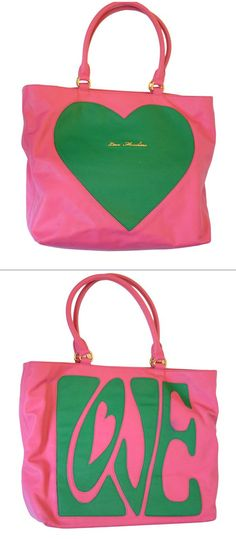Pink and green leather 'Love' tote