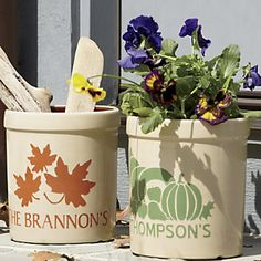 Personalized Crock | Add a special touch to your front porch or walkway with our Personalized Crock. Drop in a potted plant, bittersweet branches or dried corn stalks to add the spirit of fall.