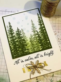 thecraftyyogi.blogspot.com, Wonderland stamp by Stampin' Up!, Christmas card, trees.